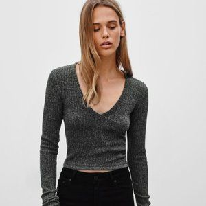 Aritzia Wilfred Free Bittar Ribbed Cropped Top